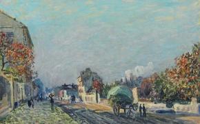 Обои повозка, картина, дома, деревья, город, Улица в Марли, Альфред Сислей, пейзаж