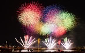 Картинка ночь, город, огни, салют, Япония, Токио, фейерверк