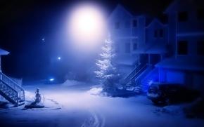 Картинка машина, свет, снег, дерево, Зима, двор, фонарь, снеговик