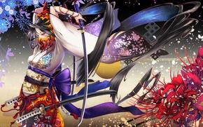 Обои цветы, Девушка, маска, кимоно, мечи, катаны