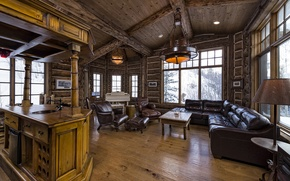 Картинка wooden, living room, luxury, colorado, blue sky lodge