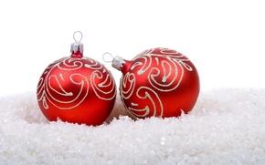 Картинка снег, праздник, шары, новый год, рождество, красные, белый фон, christmas, new year, елочные игрушки