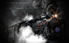Обои поезд, паровоз, train, пар