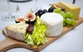 Обои сыр, виноград, фрукты, сельдерей, инжир, закуски, финик