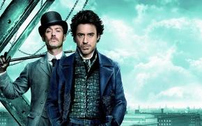 Обои Jude Law, шляпа, Роберт Дауни мл., Шерлок Холмс, доктор Ватсон, сыщик, Лондон, трость, Sherlock Holmes, ...