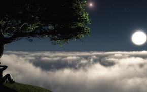 Обои луна, вид, небо, дымка, звезды
