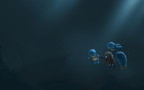 Картинка море, рыбы, корабль, остов, арт, монстрики, под водой, плавание, guild wars 2, fanart, quaggan, фонт