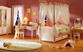 Картинка дизайн, стиль, стол, комната, игрушка, лампа, кровать, интерьер, зеркало, медведь, мишка, стул, медвежонок, спальня, балдахин, …
