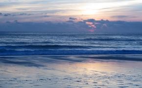 Картинка волны, небо, закат, Море, sky, sea, sunset