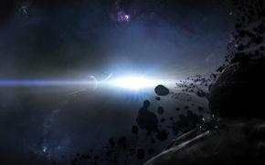Картинка планета, Свет, астероид