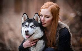 Картинка девушка, настроение, собака