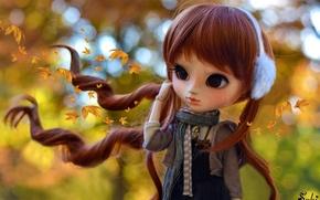 Картинка осень, листья, волосы, кукла, девочка, рыжая
