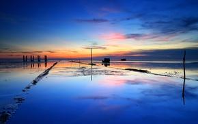 Картинка море, небо, облака, закат, лодка, отлив