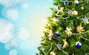Картинка праздник, фон, игрушки, украшения, снежинки, елка, Новый год, шары, блики, ветки, Новогодняя
