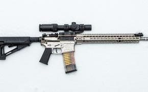 Обои оружие, снег, штурмовая винтовка, фон, оптика