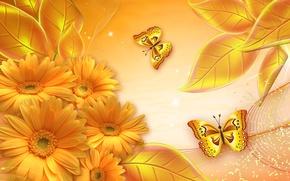 Картинка цветы, коллаж, бабочка