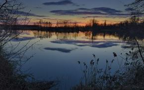 Картинка зима, небо, трава, вода, облака, деревья, закат, отражение, река, берег, Вечер