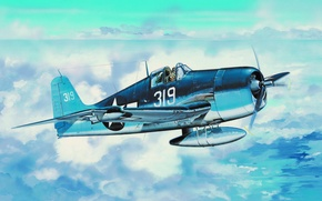 Картинка fighter, war, art, airplane, aviation, ww2, Grumman F6F Hellcat