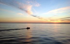 Картинка закат, лодка, человек, Вода
