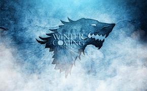 Картинка Игра престолов, сериал, герб, A Song of Ice and Fire, волк, Winter is coming, Зима ...