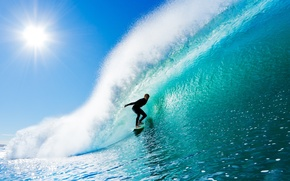 Картинка море, волны, лето, небо, вода, солнце, лучи, брызги, фон, спорт, волна, серфинг, мужчина, доска, парень, ...