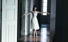 Картинка девушка, поза, юбка, брюнетка, балерина, пуанты