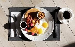Картинка кофе, завтрак, яичница, good morning