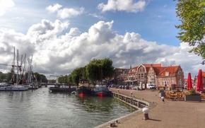 Картинка city, street, Netherlands, port, dock, Elevation of IJsselmeer