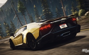 Картинка Lamborghini, Need for Speed, nfs, Yellow, Aventador, Rivals, NFSR, нфс