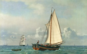 Картинка масло, картина, холст, датский живописец, Кристофер Вильгельм Экерсберг, «Море»