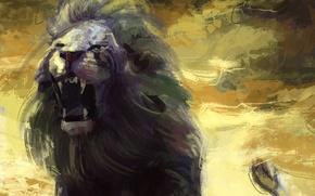 Картинка лев, арт, пасть, грива, живопись