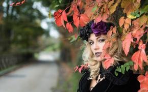 Картинка взгляд, листья, девушка, Deborah