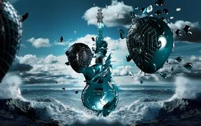 Обои море, гитара, волны, рок, музыка