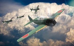 Обои война, A6M5, zero, самолет, истребитель, небо, war thunder, облака