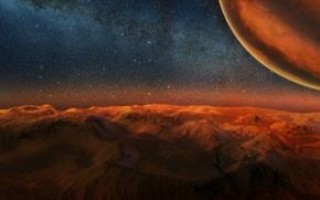 Картинка космос, ночь, планета, звёзды, арт