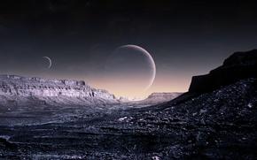 Обои небо, планеты, art, Blue Moon, qaz, WP Version