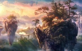 Картинка острова, деревья, скалы, азия, здания, арт, канаты, летающие