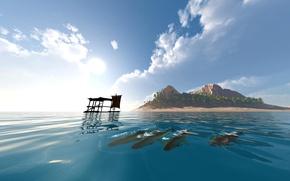 Картинка море, небо, вода, облака, рыбы, пальмы, остров, парус, плот, small island