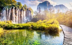 Картинка вода, пейзаж, река, скалы, водопад