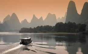 Обои Лодка, река, закат