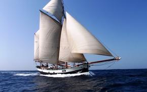 Картинка море, небо, яхта, паруса