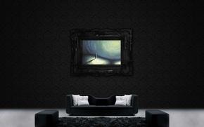 Обои диван, стена, узор, рисунок, картина, подушки