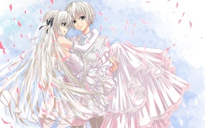 Обои девушка, платье, Аниме, парень, невеста, фата, длинные волосы, свадьба, жених, kasugano sora, серебряные волосы, на ...