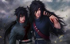 Картинка взгляд, листья, оружие, ветер, кровь, парни, ранение, Наруто, Naruto, art, Zetsuai89, uchiha madara, uchiha izuno
