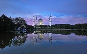 Картинка вода, отражения, город, мечеть, Малайзия, Шах-Алам, Tuah Roslan Photography, Селангор