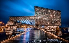 Картинка огни, здание, HDR, Ночь, фонари, Исландия, night, Iceland, Reykjavik