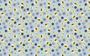Картинка обои, текстура, цветочки, пчелки