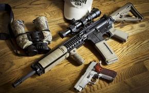 Картинка оружие, BCM, бинокль, Sig P226, AR-15, штурмовая винтовка, пистолет
