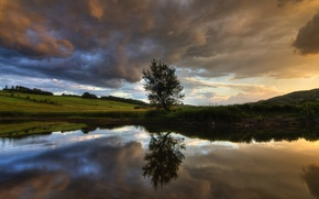 Картинка небо, облака, река, дерево, Канада, Квебек