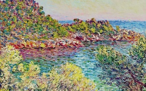 Обои Пейзаж близ Монте-Карло, картина, Клод Моне, природа